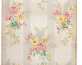REMNANT of Vintage Wallpaper, Single 42 Inch Piece - Segmant of Floral Wallpaper with Pink and Yellow Daisies on White and Gray Stripe