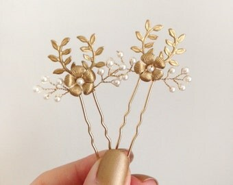 Petite Leafy Pearl Hair Pins - hand wired Swarovski crystal pearl and brass leaves and flowers set of two