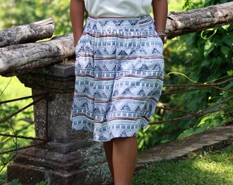 Women's Blue and white Skirt / Navy Blue Skirt /Midi Skirt Ethnic Blue / Tribal in Blue and White Skirt with Pockets  / Elastic Waist SKirt