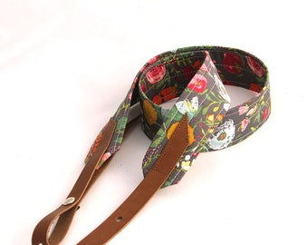 Botanical Garden Mandolin Strap with Leather Adjustable Ends