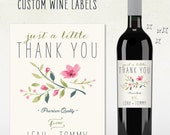 Custom Wine Label -  Thank You (Personalized)