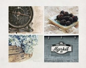Rustic Kitchen Photography, Set of 4, Country Wall Art, Farmhouse Decor, Neutral & Blue, SAVE 20%
