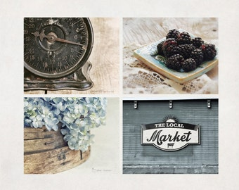 Farmhouse Kitchen Art Prints, Photography Set of 4, Country Wall Art, Rustic Decor, Neutral & Blue, SAVE 20%