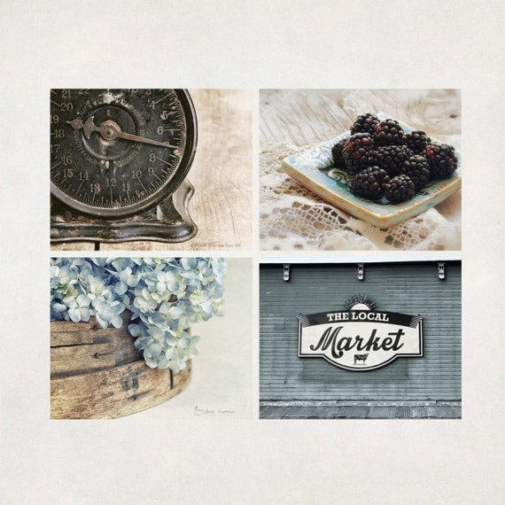 Farmhouse Kitchen Art Prints Photography Set Of 4 Country