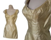 RESERVED - Do NOT Buy - 60's Gold Lame Mini Dress • Vintage Micro Lame Pin up Dress • Sparkling Gold Thread Mod Go Go Micro Mini • Size XS S