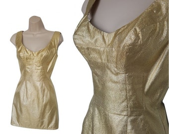 60's Gold Lame Mini Dress • Vintage Micro Lame Pin up Dress • Sparkling Gold Thread Mod Go Go Micro Mini • Size XS S