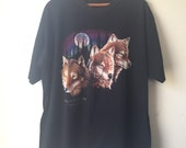 Three Wolf Moon Vintage T-Shirt, Black Tee, Pigeon River Country Vanderbilt Michigan 1990s/Hipster, Grunge/Unisex Adult Size XL