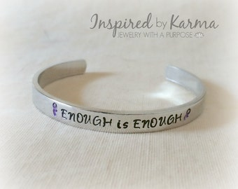 Domestic Violence Awareness Bracelet,Enough is Enough,Awareness Jewelry,Stop Domestic Violence,Sexual Abuse,Child Abuse,Purple Awareness