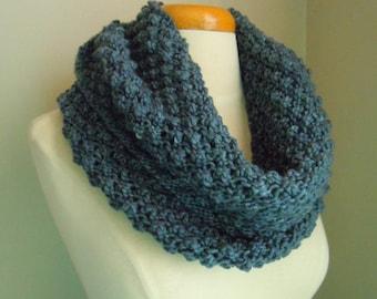 Merino wool long cowl - gray blue