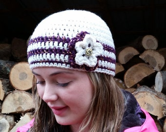 SALE PRICED!! Womens Crocheted Flower Hat/Ready to Ship