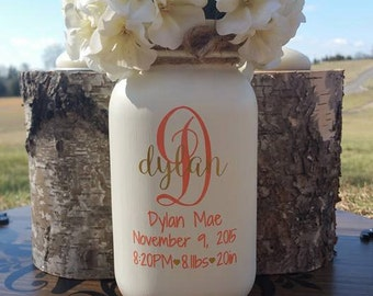 Birth Announcement Mason Jar Vase