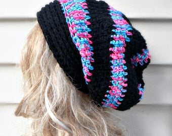 Crochet Hat Womens Hat Slouchy Beanie - Oversized Beret Crochet Hat in Mix Colors Crochet Beret Womens Accessories