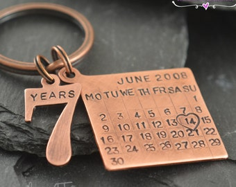 Personalized copper key chain th wedding anniversary gift