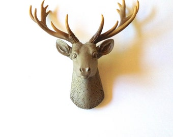LITE BROWN SMALL Faux Taxidermy Deer Head wall mount wall hanging / stag head / faux animal head / light brown with natural-looking antlers