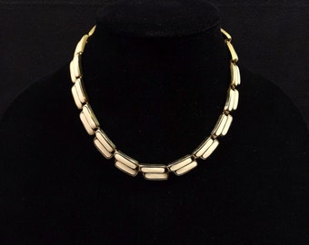 Ivory Enamel and Gold Tone Link Necklace