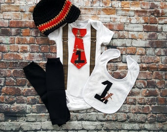 Sock Monkey Baby Boy First Birthday Tie Bodysuit w Suspenders, 1st Birthday Sock Monkey, Crocheted hat, Leg Warmers, cake smash bib, Red