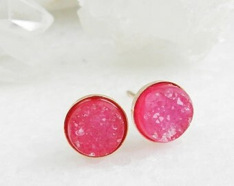 druzy earrings, druzy studs, stud earrings, rose gold, pink earrings, crystal, druzy stud earrings, dainty, minimal, druzy