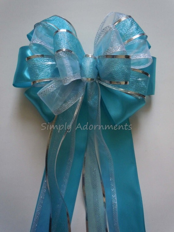 Turquoise Blue Silver Wedding Bow Blue Church Pew Decorations Blue Birthday Party Shower Gifts Bow