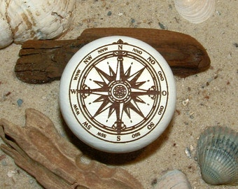 Cabinet knob wind rose compass rose engraving maritim - furniture knob - compass rose - wind rose - engraving - incl. screw