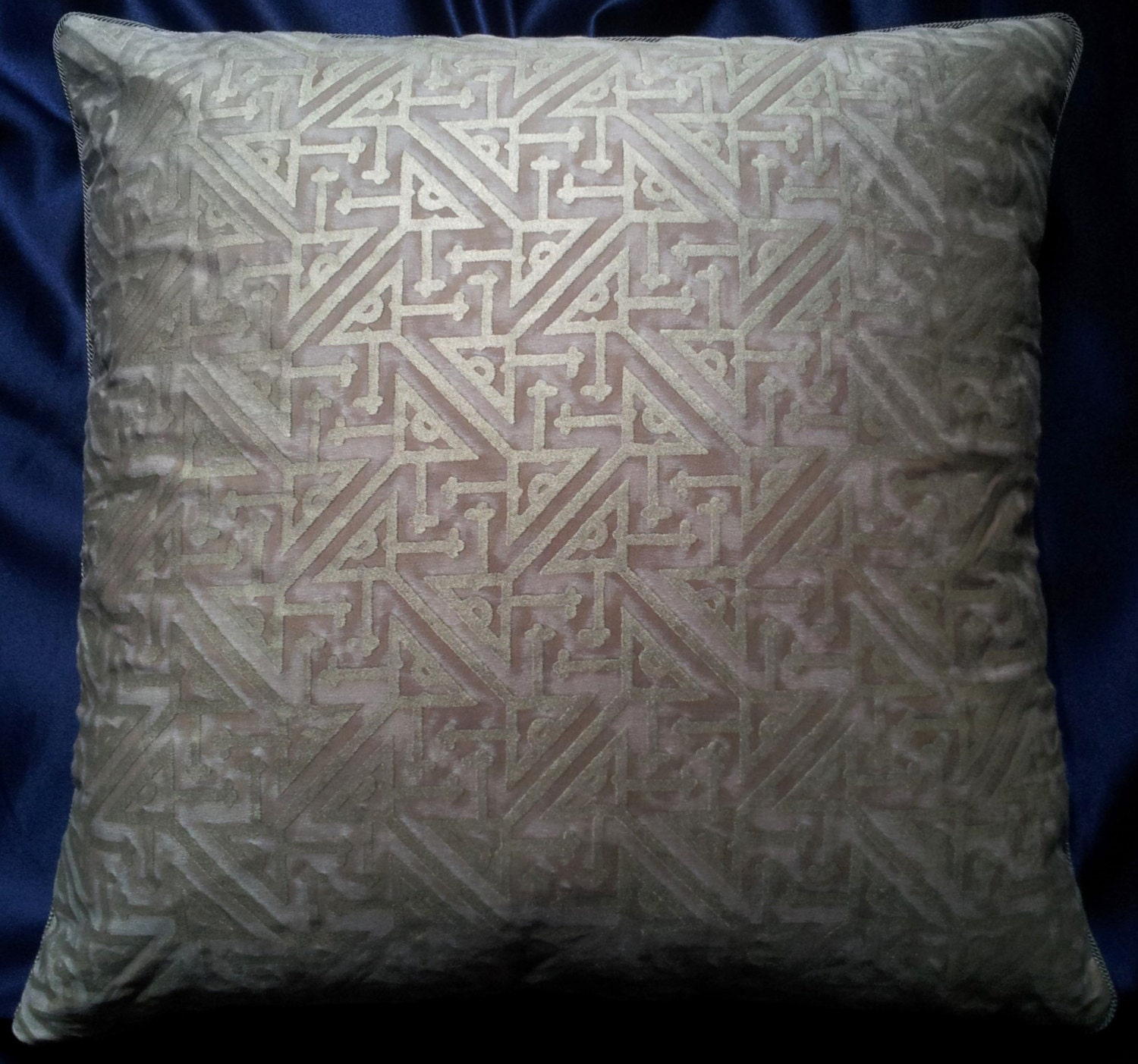 Fortuny Fabric Throw Pillow Cushion Cover Platinum & Silvery