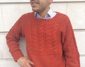 Traditional Gansey - Handmade Gansey  - Knit Cable  Gansey - Fishermans Gansey - Fishermans Sweater - Mens handmade jumper- Handmade sweater