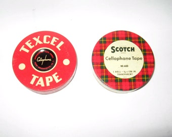 Vintage Scotch Tape and Texcel Tins - Two Vintage Tape Tins - Scotch Tape and Texcel Tins
