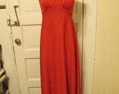 1960s Burnt Orange Keyhole Maxi Party Dress sz s/m