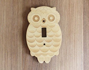Wood Laser Cut Owl Light Switch Plate / Cover (single switch)