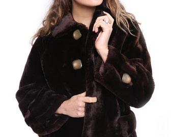 Vintage Faux Fur Coat 50s Chocolate Brown
