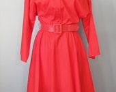 "Red Dress / Vtg  / ""Amercian Shirt Dress Company "" Red Shirt Dress / Solid Red Secretary Dress / Long Sleeve"