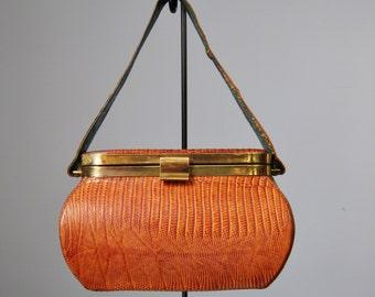 Reptile Box Bag / Vtg 40s 50s / Hard-Sided Reptile Skin Box-Shaped Bag