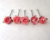 Coral Hair Flowers, Small Flower Hair Pins, Coral Pink Roses, Paper Rose Bobby Pins, Miniature Rose Bridesmaid Hair Accessories, Summer Hair