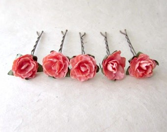 Coral Hair Flowers, Small Flower Hair Pins, Coral Pink Roses, Paper Rose Bobby Pins, Miniature Rose Bridesmaid Hair Accessories, Summer Hair