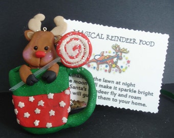 Santa Claus Reindeer Christmas Ornament Magic Deer Food Card Handcrafted Polymer Clay Candy Lollipop Antlers Rudolph Red Nose Cocoa Mug 1st
