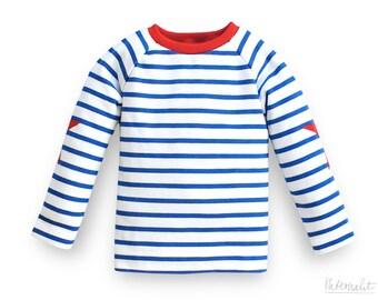 toddler boy shirt blue white striped, 100% organic cotton, boys striped applique shirt