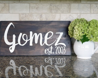 Last Name Wood Sign | Custom Established Sign | Last Name Painted Wood Sign | Home Decor | Pesonalized Farmhouse Sign