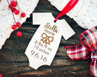 Babys First Christmas Ornament, First Christmas Ornament, Personalized Baby Stats Ornament, Christmas Ornament for New Mom, Baby Stats