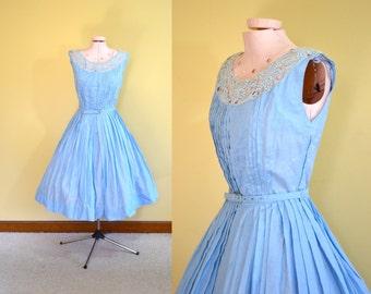 1950s Vintage R&K Originals Blue Lace Dress size XS bust 32