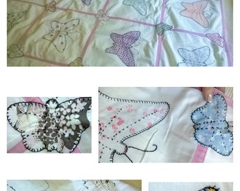 BUTTERFLIES ARE FREE  Captured on this Handmade Vintage Quilt Top -Feedsack Prints-Pink/White Muslin-Hand Stitching