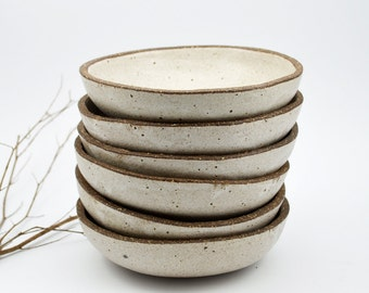 Rustic Bowl - Ceramic Bowl - Serving Bowl - White Speckled Bowl - Stoneware Bowl