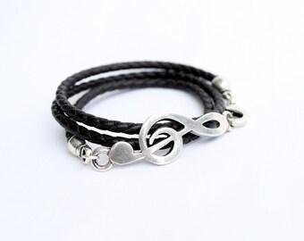 Music Bracelet, Leather wrap bracelet for men or women, G clef, clave de sol, Rock Bracelet, Love music