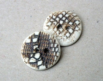 Rustic Buttons , Neutral Colors , Lace  Buttons , White And Rust Buttons ,Crafting Supplies , Sewing Supplies