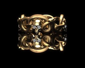 7mm wide Snake and Skulls Band 14K Gold