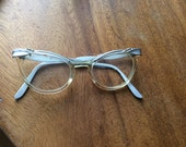 1950's Cat Eye Glasses / Women's Vintage Eyeglasses / aluminum frame eye glasses / Made in USA