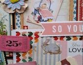 Retro Baby Girl Inspiration Kit   Embellishments   6 x 6 Art Journal Mini Album   Scrapbooking Layout   Project Life   Graphic 45