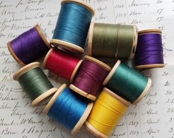 Beautiful Vintage Jewel Tone Sewing Thread Spools | No.20