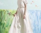 linen maxi dress, white maxi dress, white dress, bridesmaid dress, wedding dress, layered dress, sundress, romantic garden dress, formal
