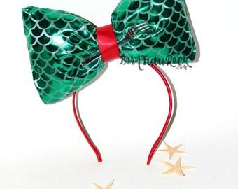 Mermaid Bow // Ariel Bow // Little Mermaid Bow // Pillow Bow Headband // by Born TuTu Rock
