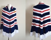 1960s Chevron Striped Poncho with Lace Up Collar / Made in Portugal / Fringe Trim / Deadstock / New With Tags / Portuguese