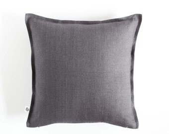 Dark gray pillow cover - european sham from natural linen - gray linen sham - linen pillowcase - linen pillow sham, gray euro sham 0387